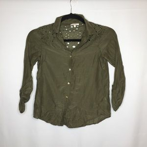 Ella Moss small olive button up cut out shirt